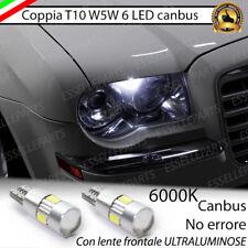 COPPIA LUCI POSIZIONE T10 6 LED CANBUS CON LENTE CHRYSLER 300C NO ERROR BIANCO
