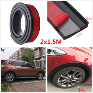 2Pcs 1.5M 4.5cm Car Fender Flare Extension Wheel Eyebrow Moulding Trim Protector