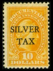 RG18 REVENUE Silver Tax $10 LIBERTY OVERPRINT Used $27 SEE PHOTOS Lot B-526