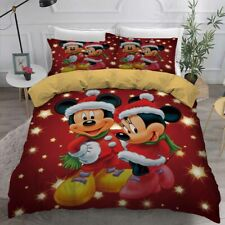 3D Christmas Mickey Minnie Mouse Bedding Duvet Cover Comforter Cover PillowCase