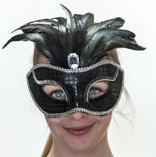 Black Sequin Masquerade Mask with diamante, feathers and silver trim