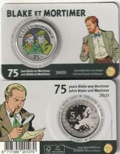 België 2021 Coincard 5 euro - Blake and Mortimer colared