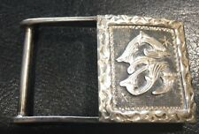 Vintage Sterling Silver 925 Mexico Mono Chase Belt Buckle