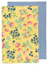 NOW DESIGNS Dish Towel Tea Towel BERRY PATCH SET OF 2 NWT 100% Cotton