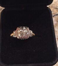 18 Kt Yellow & White Gold Diamond Cushion Ring