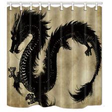 Waterproof Fabric Bathroom Shower Curtain Animal Asian Black Dragon 71*71 inches