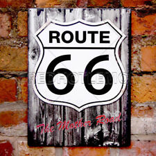 Superb Route 66 Wood Effect Tin Plate Metallic Wall Sign - USA/Gift Christmas