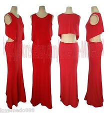 Sexy Womens Cut Out Stretch Cocktail Party Club Full Length MAXI Dress RED Small
