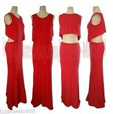 Womens Cut Out Stretch Cocktail Party Club Celebrity Long MAXI Dress RED Medium