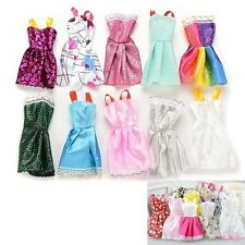 10pcs/Lot Princess Dresses Outfits Party Wedding Clothes Gown For Barbie Doll