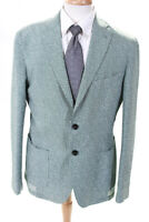 Domenico Vacca Mens Collared Two Button Blazer Jacket Green White Size 54
