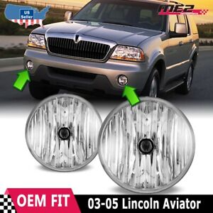 For Lincoln Aviator 03-05 Factory Bumper Replacement Fit Fog Lights Clear Lens