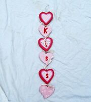 Valentines day Kiss Sign Wall hanging Wood Decor Love Red Pink White Hearts