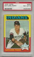 1975 TOPPS #530 GAYLORD PERRY, PSA 8 NM-MT, HOF, CLEVELAND INDIANS, L@@K