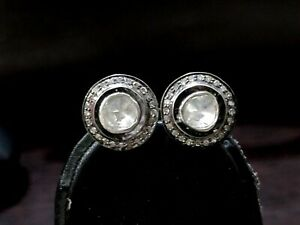 Natural Diamond studded 925 Sterling Silver Stud Earrings Push back Statement