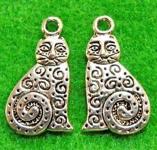 50Pcs. WHOLESALE Tibetan Silver Kitty CAT Charms Pendants Earring Drops Q1149