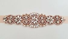 "Wedding Bridal Sash Belt, ROSE GOLD Crystal Pearl Wedding Sash Belt = 7"" trim"
