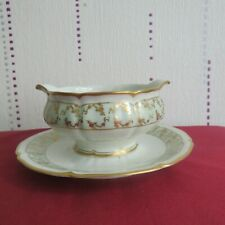 Sauceboat Limoges Porcelain lanternier Green And Gold