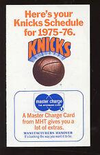 1975/76 NBA Basketball New York Knicks Schedule EXMT