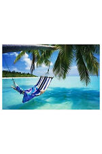 Tropical Beach Poster! Calm Serene Hammock Blue water Palm Tree New Never Hung