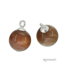 2 Natural Sunstone Sterling Silver Dangle Drop Charm Pendant Beads 10mm #98069