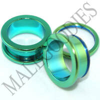 "0540 Green Surgical Steel Screw-on/fit Flesh Tunnels 11/16"" Inch 18mm Ear Plugs"