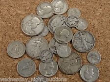 Pre 1950 Silver USA Coins Lot of $1 Face Value Dimes, Quarters, Half Dollars