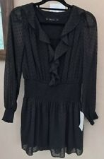 BNWT Zara Playsuit Size M 12 Black Textured Polka Dot Sheer Overlay Button Up