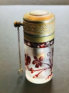 Antique French  perfume cameo bottle travel atomizer