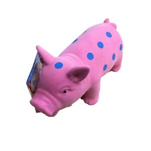 Pet Dog Puppy Honking Pig Shape Chew Fetch Play Toy Squeaker Squeaky Latex Pink