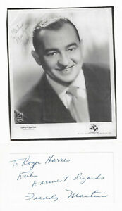 FREDDY MARTIN - VINTAGE SPECIAL 4X6 EMBOSSED HAND SIGNED/INSCRIBED/IMAGE/COAS.