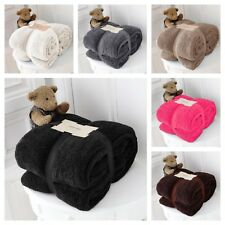 LARGE SOFT WARM TEDDY BEAR SHERPA FLEECE BLANKET SOFA BED THROW DOUBLE, KING