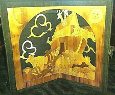 RELIGIOUS Booklet Card FRAMED 3-D NOAH'S ARK SHADOWBOX Wheat Straw Carved RARE