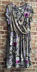 Monsoon Floral Grey Pink Cream Cap Sleeve Lined Dress Sz 14 Lightly Worn
