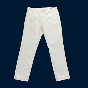 "Mens Ralph Lauren Trousers W35"" L32"" Slim Fit Chino Pale Grey Cotton"