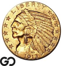 1913 Half Eagle, $5 Gold Indian, Investment Gold Coin ** Free Shipping!