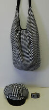 Houndstooth Hat, Watch Band & Hobo Handbag Purse Tote Black & White 3pc