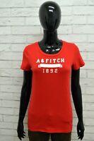 Maglia ABERCROMBIE Donna Taglia Size L Maglietta Shirt Woman Manica Corta Rosso