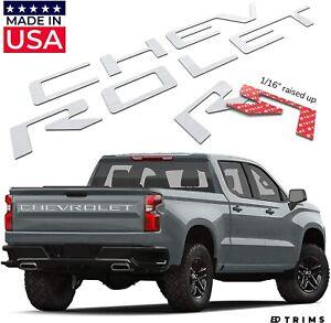 3D Raised Chrome Tailgate letters For Chevrolet Silverado 2019 2020 Rear Trunk