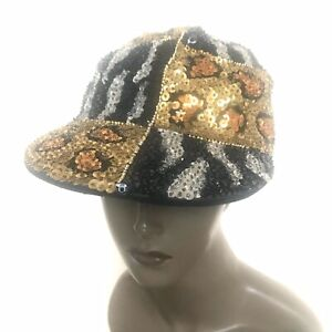 Funky Vintage Sequin Cap Animal Print Mixed Media Womens Hat Black Gold 90's