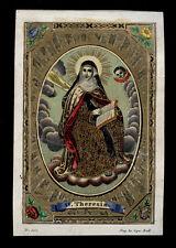 santino incisione 1800 S.TERESA D'AVILA dip. a mano RUDL