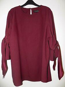 Ladies Top Dorothy Perkins Berry Maroon Tie Sleeves Size 14 Unworn