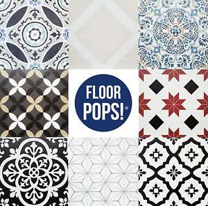 Peel & Stick Vinyl Floor Tiles 10pcs Marble Moroccan Floral Pattern FloorPops