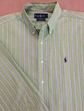 Men's Large, Green striped, Ralph Lauren, Button Down, Long Sleeve shirt.