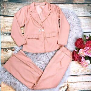 NEW! SHEIN 2 Pcs. Blazer Suits Set Women's Small Pink Salmon Elastic Waist Pants