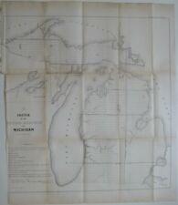 Original 1855 Public Land Survey Map MICHIGAN Keweenaw Bay Detroit River Saginaw