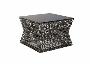 """24"""" W Coffee Table Hourglass Shape Woven Base Metal Smooth Finished Top 1165"""