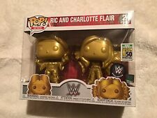 2019 SDCC Exclusive Funko Pop Ric And Charlotte Flair Gold 2 Pack NIP