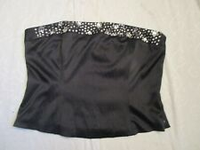 Ladies Black Corset Bustier Top with Rhinestone Detail Size 16 Zip Up