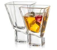 JoyJolt Carre Square Martini Glasses, Set of 2 8-Ounce Stemless Cocktail Glasses